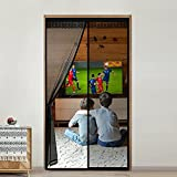 Cortina Mosquitera Puerta Corredera con Cenefa Decorativa 100 x 220cm Mosquiteras para Puertas Cierre Magnético Automático Patio Puerta Mosquitera Magnetica Fácil de Ensamblar Autoadhesivo Negro