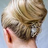 QueenMee Pince à cheveux en métal argenté doré avec fermoir à cheveux vintage en cristal