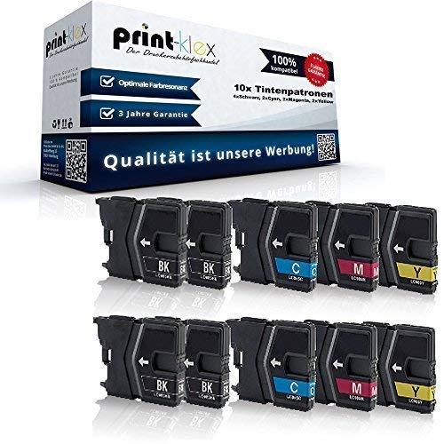 10x Kompatible Tintenpatronen Sparset für Brother DCP J125 DCP J315W DCP J515W MFC J220 MFC J265W MFC J410 MFC J415W LC-985BK LC-985C LC-985M LC-985Y - 4X Black, 2X Cyan, 2X Magenta, 2X Yellow