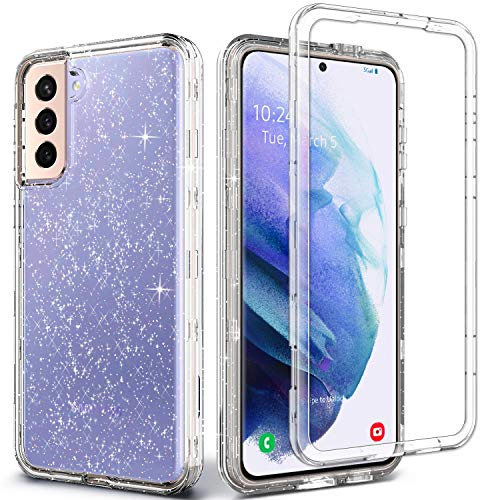 Coolwee Crystal Glitter Full Protective Case for Galaxy S21 Plus Heavy Duty Hybrid 3 in 1 Rugged Shockproof Women Girls Transparent for Samsung Galaxy S21 Plus 6.7 inch Shiny Clear Bling Sparkle