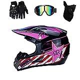 TRIPERSON Dirt Bike Off-Road Motocross ATV Motorcycle Helmet for Men Women,professional competition helmet DOT Certified (Pink, Small)