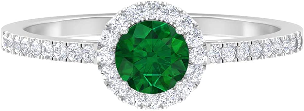 Lab Created Emerald Solitaire Ring 0.48 Ranking TOP7 1 Diamond CT 4 HI-SI Super sale period limited