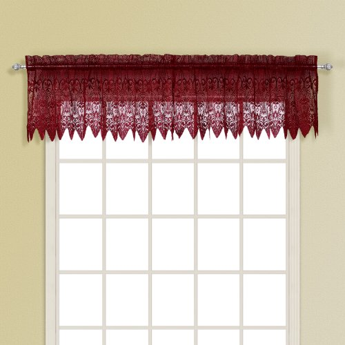 United Curtain Valerie - Mantovana dritta in pizzo, 150 x 45 cm, colore: Bordeaux