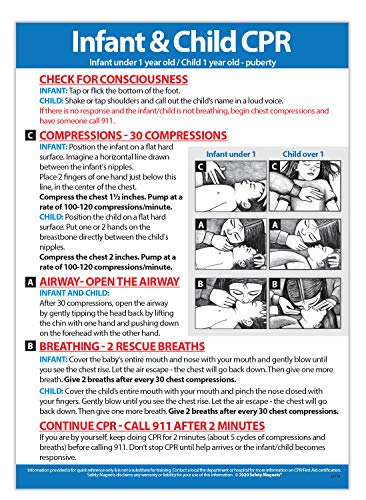 Infant and Child CPR Instructions Safety Magnet - Baby CPR Refrigerator Magnet - Child and Infant First Aid Aid Sign - 5 inches x 7 inches, Jumbo Magnet