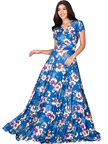 KOH KOH Womens Long Cap Short Sleeve Floral Print Full Floor Length Sexy V-Neck Spring Summer Sundress Cocktail Evening Party Sun Gown Gowns Maxi Dress Dresses, Blue Teal & Pink L 12-14