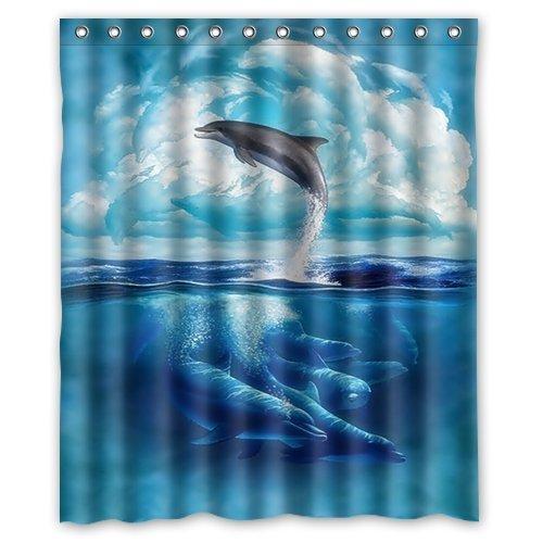 Top Home Textiles Custom Waterproof Fabric Bathroom Shower Curtain [Duschvorh?nge] [Duschvorhang] Dolphin Sea 60