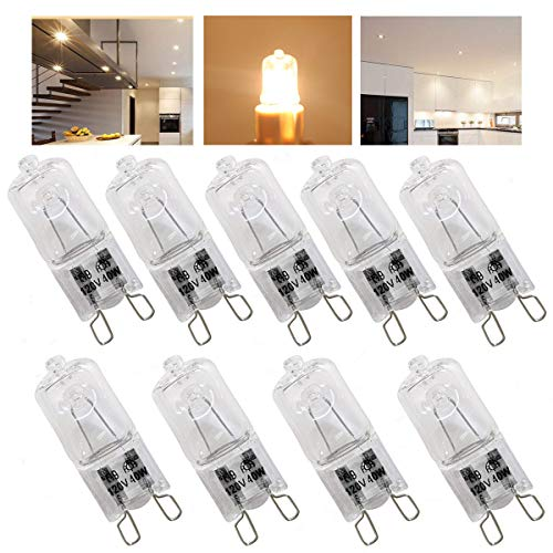 9 Pack,G9 Halogen Light Bulbs 40 Watt ,Crystal Clear Lense, T4/Q40/G9/CL/120V JD Type Halogen House Hold Light Bulb,for Hanging Pendant Accent Type Spot Down Lamp Chandelier Sconce Fixture Lighting