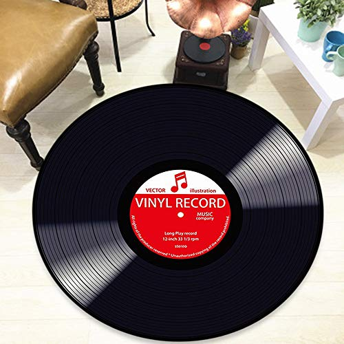 Runde Bodenmatte Sofa Bodendekoration Kreative Schallplatte Design Weichen Stoff Teppich Raum Teppiche(rot,Diam 60cm)