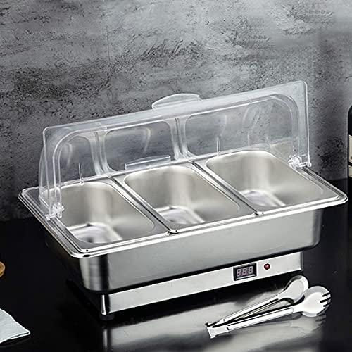 FGHFD 400W Chafing Dish Electrico, Calentador de Comida para Buffet, Calentador De Alimentos De Acero Inoxidable con la Bandeja 9L y la Temperatura Pantalla Digital, Ajustable 35-80 ℃