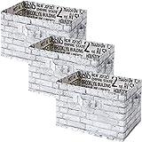 山善 収納ボックス 幅38×奥行25×高さ25cm 取っ手付き カラーボックス対応 完成品 ホワイトレンガ 3個組 YTCT-3P(WHR)