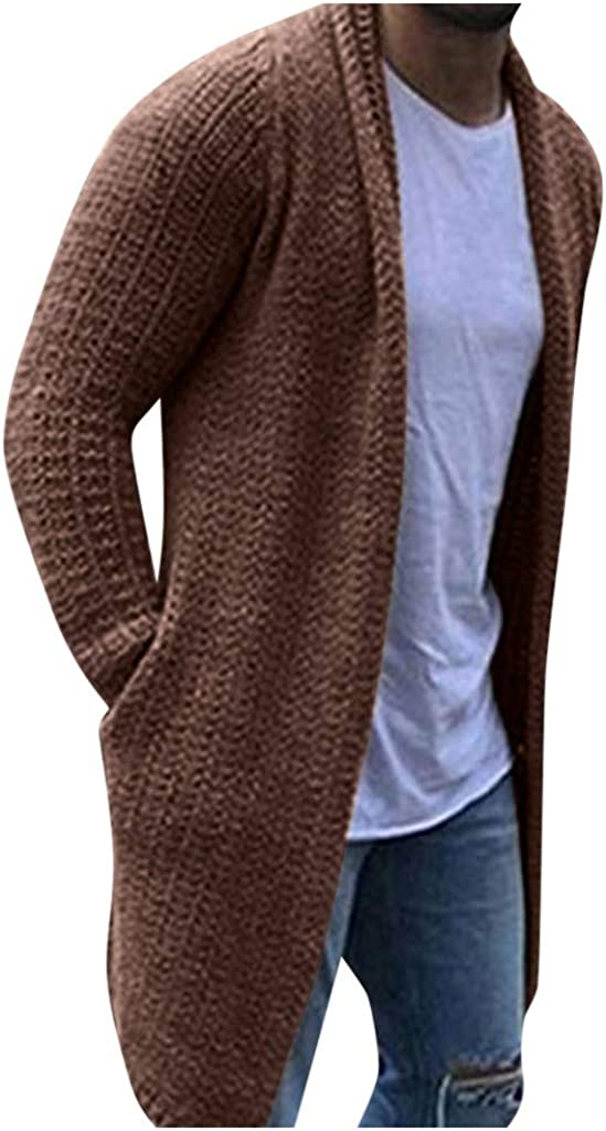 TWGONE Cardigan for Men Long Solid Streetwear Long Sleeve Knitted Sweaters Autumn Overcoat with Pockets(XXX-Large,Brown)