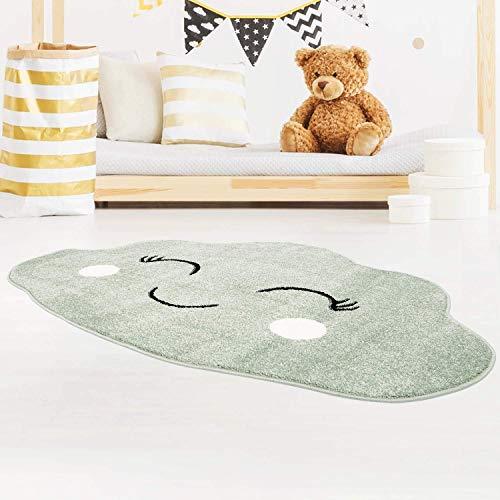 carpet city Kinderteppich Wolke in Mint-Grün für Kinderzimmer in 100x150 cm Wolkenform
