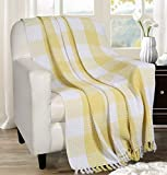 Buffalo Plaid Cotton Throw Blanket With Fringes 50x60 Inch- Lime Yellow,Cotton Throw For Sofa, Farmhouse Throw,Throw For Couch,Everyday Use,Well Crafted For Durabilty,All Season Blanket