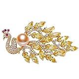 Broche JXtong2 de perlas de agua dulce con diseño de pavo real