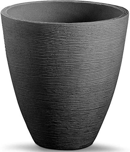 Spetebo Blumenkübel im Rillen Design - 39 x 42 cm - Kunststoff Pflanzkübel Blumentopf rund für Innen und Außen (Anthrazit - 42 cm)