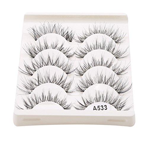 Edtoy 5 Pair Natural Makeup False Eyelashes Black Handmade Fake Eye Lashes (white)