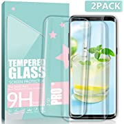 BULESK Galaxy S8 Plus Glass Screen Protector, 2 Pack 3D Tempered Glass Screen Protector Full