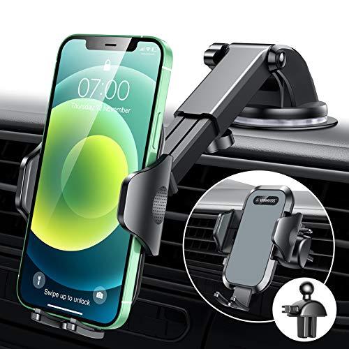 VANMASS Handyhalterung Auto 2021 Version kfz Handyhalterung auf Armaturenbrett Windschutzscheibe Lüftung Auto Smartphone Halter 100% Kratzschutz Universal für alle Handys wie iPhone Samsung Huawei LG