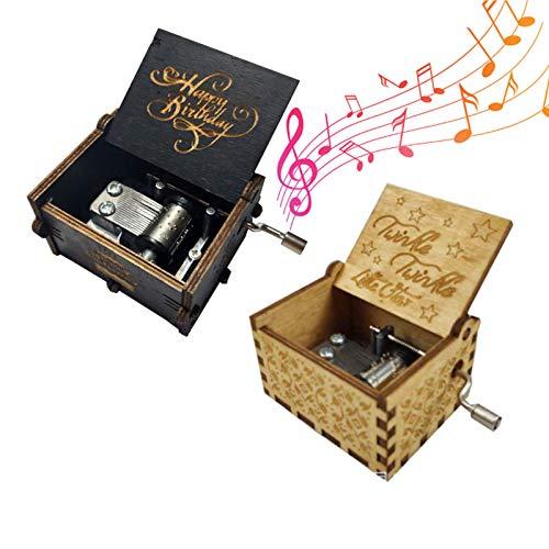 Caja Música Temática Madera Manivela Caja Musical Tallada a Mano Madera Tallada Mecanismo Caja Musical Mini Caja Musical Musical Box Manivela para Decoración Hogar Cumpleaños Regalo Navidad 2Pcs