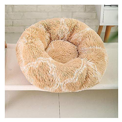 YAOTT Plush Round Pet Bed Cats Dogs Warm Calming Donut Cuddler Kennel Puppy Soft Fluffy Faux Fur Cushion Bed for Orthopedic Relief and Improve Sleep Anti-Slip Bottom Light brown D40cm