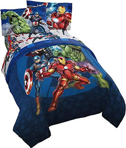 AQEWXBB Juego de ropa de cama de Los Vengadores, funda nórdica de 100% microfibra, diseño de animación, para niños (220 x 240 cm + 80 x 80 cm x 2)