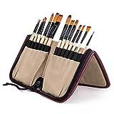 Cepillos de pintura de 14 piezas, con bolsa de almacenamiento portátil, pinceles de artista para acuarelas, acrílicos y pinturas al óleo