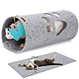 lumoleaf - tappetino per tunnel per gatti, in morbido feltro, sicuro senza fili affilati, estensibile fai da te, per gattini, cuccioli, conigli e piccoli animali domestici, colore: grigio