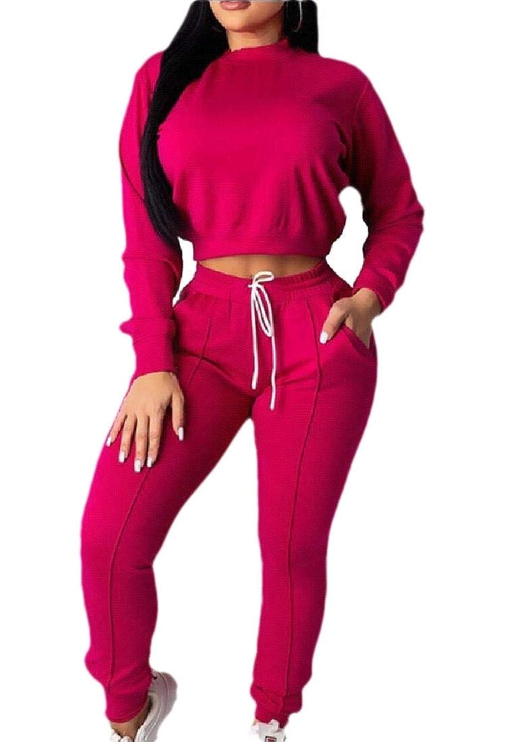 ストレージペース可聴Womens Sexy 2 Piece Outfits Tracksuits Long Sleeve Crop Tops Long Pant Set