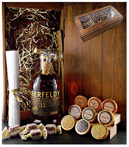Geschenk Aberfeldy 12 Jahre Single Malt Whisky + Glaskugelportionierer + Edelschokolade + Fudge