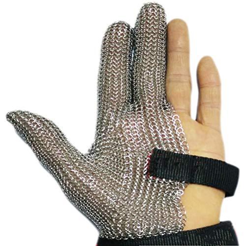 Schnittfeste Handschuhe-XHZ 1 3-Finger-Stahl Ring Handschuh, Stahl Draht Handschuh, Metall Handschuh, Kleidung schneiden Handschuh, spezielle Handschuh for die Schlachtung (Size : Large)