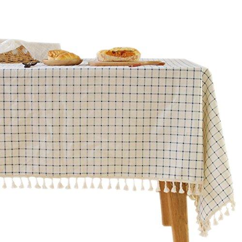 Tissu de table à carreaux bleu sur tissu blanc Tissu de nappe à mousseline café thé littéraire (Size : 140 * 180cm)