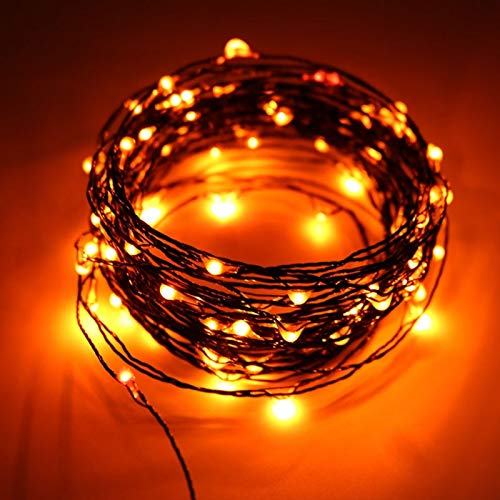 Tira de luces LED de 10 m, 100 ledes, para Halloween, alambre negro, naranja, lila, decoración para el hogar