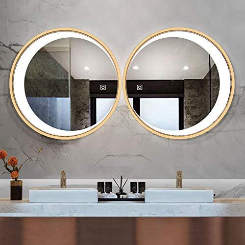 IUHUA Espejo de Pared, Luna LED con luz, Marco Redondo de Madera Maciza Espejo de Maquillaje LED Iluminado (botón táctil)