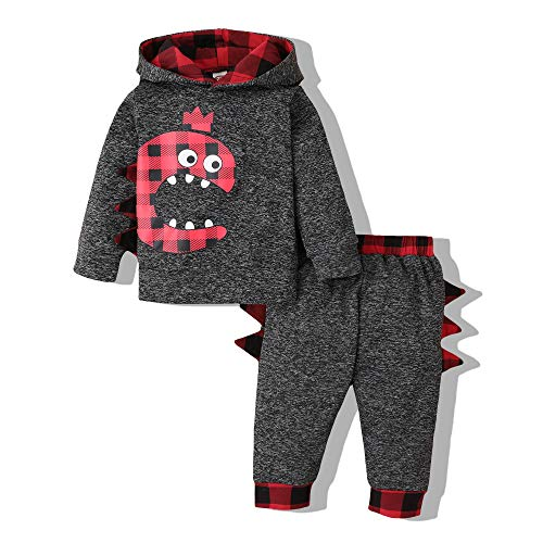 Baby Boy Outfit Dinosaur Hoodie Toddler Christmas Outfit Long Sleeves Cartoons T Shirt Plaid Pants Set Fall Winter Infant Clothing 6-12 Months, Dino Plaid