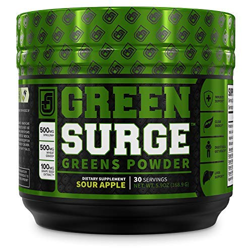 Green Surge Green Superfood Powder Supplement - Keto Friendly Greens Drink w/Spirulina, Wheat & Barley Grass - Green Tea Extract, Probiotics & Digestive Enzymes - Sour Apple - 30sv