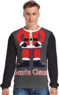 iZHH Men's Festive Santa Claus Ugly Christmas Sweater Pullover Knitted Jumper
