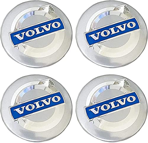 YYYYDS 4 Piezas Coche Tapas Centrales de Llantas para Volvo C70 S60 V60 V70 S40 S80 XC90,Aluminio Cubierta Centro Rueda Coche,Prueba Polvo Rueda Tapas De Centro Logo,Coche Accesorios,64mm