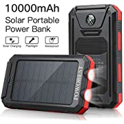 Solar Charger 10000mAh,POWOBEST Waterproof Portable External Battery with Solar Panels,Flashlight,Dual 5V/2.1A USB Ports,for Smartphones, Tables etc