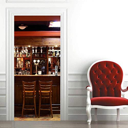WZKED 3D Etiqueta De Puerta Vinoteca para Bar Mural De La Puerta PVC Murales Carteles Pegatinas De Pared DIY Decoraciones para Sala De Baño Estar Cocina Infantiles Dormitorio 77X200Cm