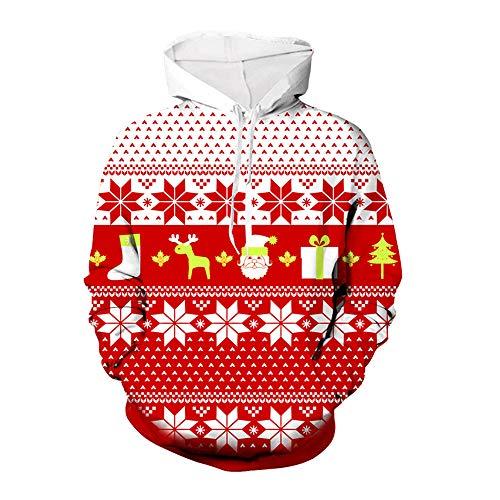 ZFQQ Weihnachten Pullover Funny Naughty Santa Claus Weihnachten Neuheit Pullover Herbst Winter Langarm Lose Trend Mit Kapuze Mit Kapuze Weihnachten 3D Pullover