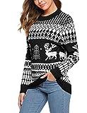 Sykooria Suéter de Navidad para Mujer Otoño Invierno Cálido Jersey de Punto de Manga Larga con Estampado de Renos de Navidad Suéter Informal de Cuello Redondo