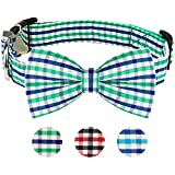 Dog Bow Tie, HAOPINSH Bow Tie Dog Collar Dog <span class='highlight'>Plaid</span> Bow Tie Collar Buckle Light Adjustable Dog Collar for Dogs Cats Pets Soft Comfortable <span class='highlight'>Green</span> Large