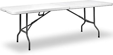 Deuba Gartentisch Klapptisch Klappbar 240x70 cm Tragegriff Kunststoff Tisch Buffettisch Campingtisch Partytisch XXL Weiß