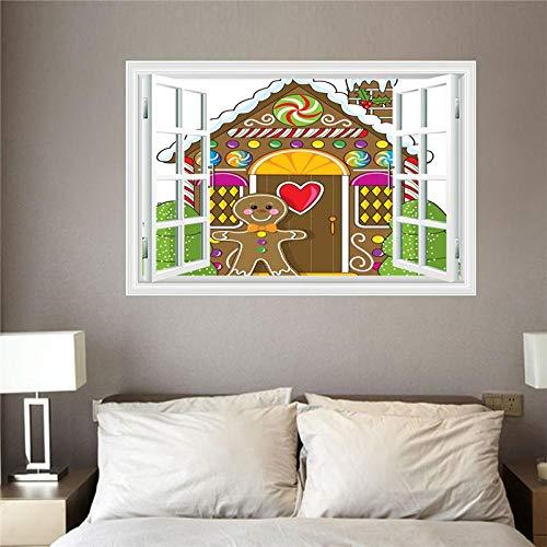 Fensterblick Leinwand Bild 3D Illusion - Fototapete - Poster - Fensterblick - Panorama Bilder - Dekoration - Bär Candy House,60x90cm