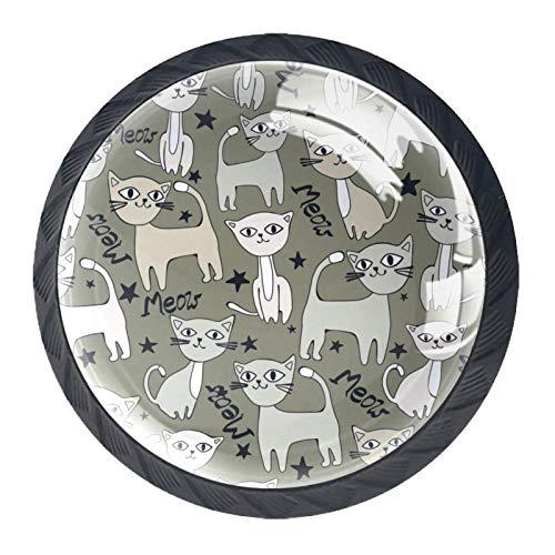 Pomos de Negro Cristal Lindo gato de dibujos animados RedondoTiradores de Muebles 4 Piezas 35mm Hecho a Mano Pomos para Alacena Baño Cocina Gabinetes Pomos Para Armarios Infantiles