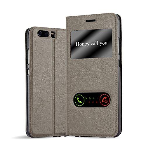 Cadorabo Funda Libro para Huawei P10 en MARRÓN Piedra - Cubierta Proteccíon con Cierre Magnético, Función de Suporte y 2 Ventanas- Etui Case Cover Carcasa