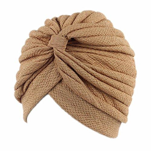 Vrouwen geplooide ruche Chemo brei hoofdband, tulband zendspoel gebonden tulband Cap moslim hoofd sjaal Hat Headwrap