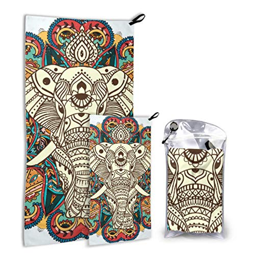 N\A Tribal Ethnic Elephant Flower 2 Pack Microfiber Sports Towel Reusable Towel Set Drying Drying Best for Gym Travel Backpacking Yoga Fitnes