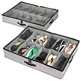 storageLAB Under The Bed Shoe Storage, Shoe Organizer with Sturdy Sides and Bottom - Set of 2, Fits 24 Pairs Total