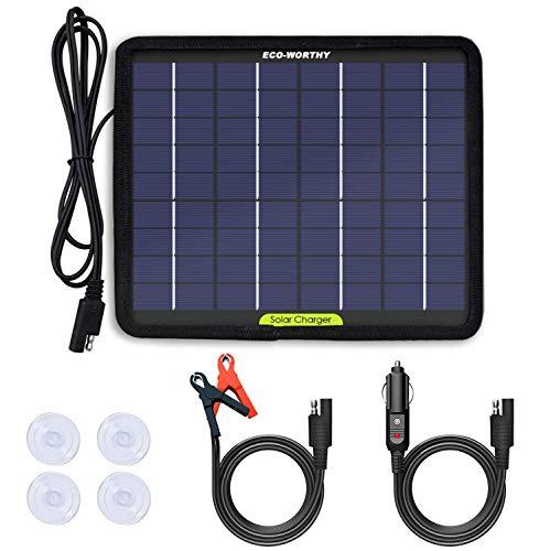 ECO-WORTHY - Caricabatteria portatile a pannello solare da 12 V, 5 W
